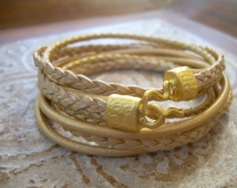 Womens Bracelet, Women's Triple Wrap Gold  Leather Bracelet with 22k Gold Plated Hook Clasp, Leather Bracelet, Womens Jewelry, 22k , gold