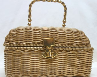 Vintage Natural color coated wicker box purse with metal Handle by BEST  & Co.