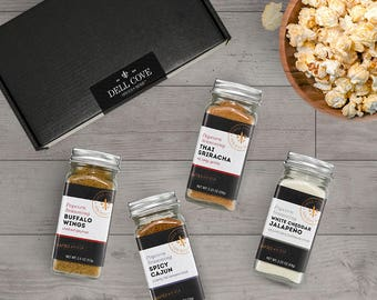 Spicy Popcorn Seasoning Gift Set - gluten free popcorn seasoning set with Buffalo Wings, Spicy Cajun, Thai Sriracha, White Cheddar Jalapeno