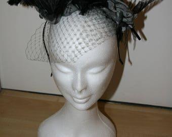 Bibiane - fascinator black and Grey Hat