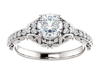 Unique Vintage Inspired Engagement Ring, Diamond Engagement Ring, Sculptured Ring, Ethical Diamond Ring