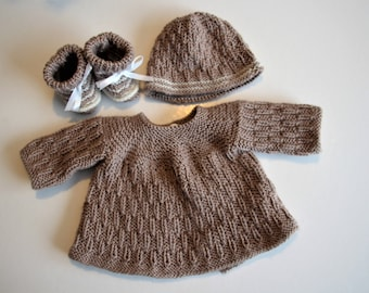 Whole jacket, booties and hat for Preemies or dolls 40-45 cm
