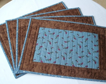 Quilted Placemats, Blue Brown Table Mats,  Floral Place Mats, Country Home Decor, Set of 4 Placemats, Quiltsy Handmade