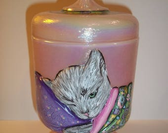 Fenton Glass OOAK Shell Pink Grey Chessie Cat Box Sunday Davis One of a Kind