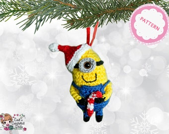 PATTERN crocheted Minion Christmas ornament