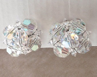 Crystal Clip On Earrings Aurora Borealis Japan Style Vintage 120513UP