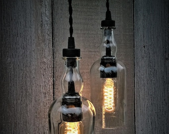 Balvenie Whisky Bottle Pendant Light Black Series, Hanging Bottle Lamp, Industrial Lighting, Industrial Decor, Home Decor, Pendant Lighting