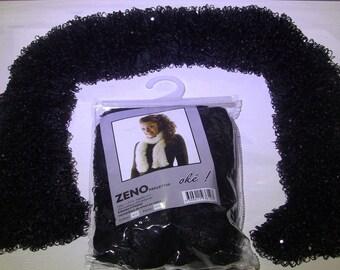 Wool yarn knit has fancy zeno 612 black sequin scarf