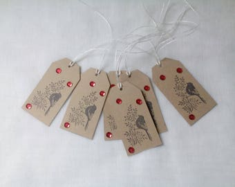 6 Christmas gift tags, bird