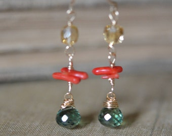 Bicolor Quartz, Citrine with Coral  Dangle Earrings