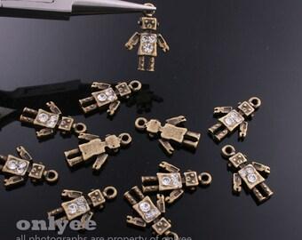 4pcs-17mmX11mm Antiqued Bronze plated zinc alloy mini Robot with 3cubics Charms,Pendants(K546)