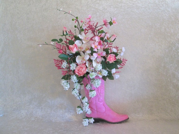 Silk flower arrangement in a pink cowgirl boot country decor silk flower arrangement in a pink cowgirl boot country decor rustic decor home decor pink roses orchids dogwood hops flocked branch mightylinksfo Image collections