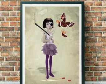 Lowbrow art   Fairy and butterfly   Wall art   Fairy decor   Large print   Matchstick art   Naughty Fairy   Lowbrow print   Fairy art   A3