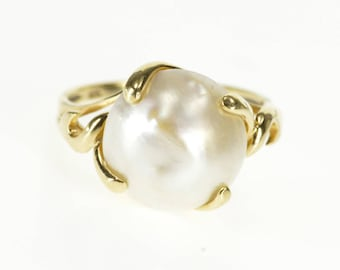 10k 12.9mm Pearl Prong Inset Wavy Design Ring Gold
