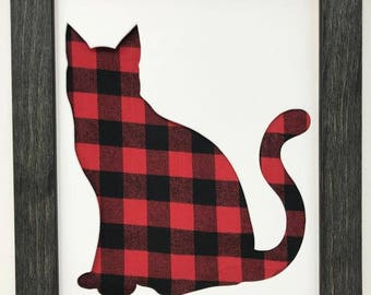 """11x14 1.75"""" Rustic Black Frame with Cat and Buffalo Plaid"""