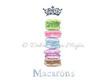Macarons Illustration, Kitchen Wall Art, Food Wall Art, Bakery decor, Food Art, Watercolor art print, Girly Art, Nursery Art