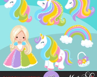 Unicorn Clipart Rainbow unicorns and little girls. Summer graphics, party printables, digitized embroidery, planner stickers, characters