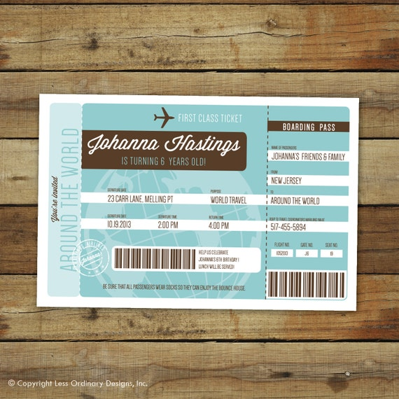 Items Similar To Airplane Birthday Invitation: Items Similar To Airplane Ticket Birthday Party Invitation