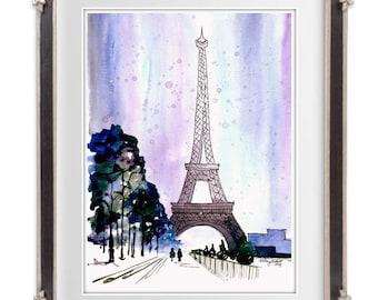 Snow Covered Paris,  Watercolor Painting Print  - Eiffel Tower home decor, paris wall art print