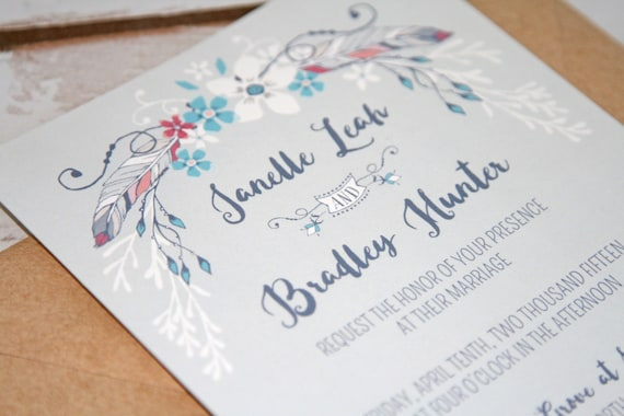 Cheap Shabby Chic Wedding Invitations: Boho Chic Feather & Floral Wedding Invitations: Rustic Shabby