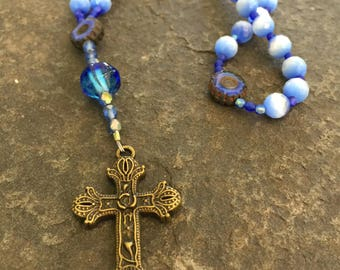Anglican Rosary Protestant Prayer Beads Episcopal Rosary Something Blue Sky Blue Czech and Cat's Eye Glass Bead