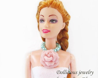 Joyful rose doll necklace, rose dolls necklace, pink Doll Jewelry, necklace for dolls, Doll accessories, Doll necklace, BJD jewelry
