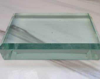Vintage Glass Rectangular Prism Paperweight