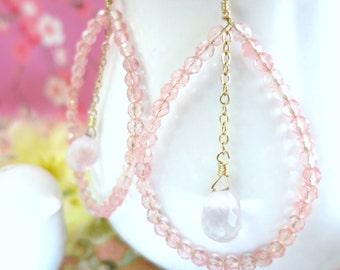 Rose quartz and pink glass hoop earrings - Boho Chic Gold Tear Drop Pink Peonies Hoop Earrings - Pink Valentines Day hoop earrings