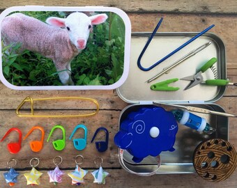 Lamb: The Knitter's Tool Tin with notions for your Knitting Project Bag