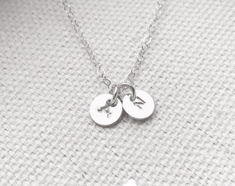 "SALE - Customized Sterling Silver Two 1/4"" Disc Necklace - Hand Stamped Initial - Personalized Charm - Minimalist Jewelry - The Lovely Rain"