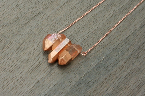 Rose Gold and Gold-Dipped Amber Quartz Long Statement Necklace // Bridesmaid // Gifts for Her // Stocking Stuffer