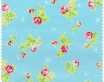 Flower Sugar 2013 by Lecien  Pink Roses on Blue 30749-70 Cotton Fabric