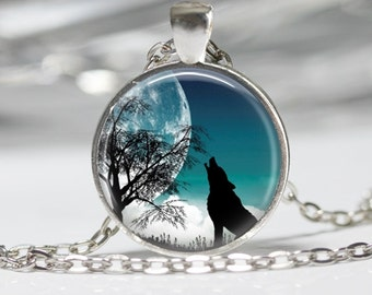 Wolf and Moon Necklace Glass Pendant Necklace Wolf Jewelry