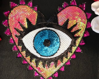 New Color Colorful Eyeball Eye Heart Sequin Fashion Embroidered Iron On Patch DIY