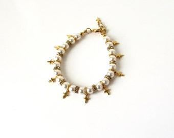 Gold Cross Bracelet, First Communion Gift for Girls, Girls Bracelet, Pearl Bracelet, CHOOSE SIZE COLOR, First Communion Girl, Girls Jewelry