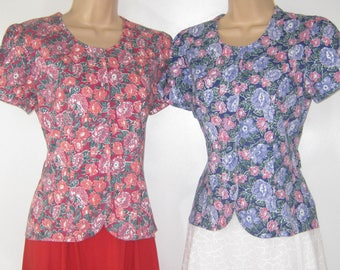 LAURA ASHLEY Vintage 2 x Primrose Floral Cotton Jersey Summer Tops, Small
