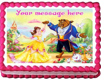 BEAUTY and THE BEAST Belle Edible cake topper Party image