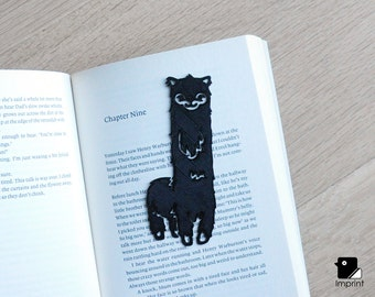 Alpaca Bookmark - 3D Printed in Black Plastic