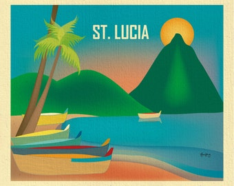 St. Lucia Art, St. Lucia map, St. Lucia skyline print, St. Lucia Wall Art, Caribbean art print, Caribbean poster - style E8-O-STLUC