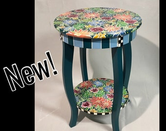 Beau Painted Table, Painted Furniture, Whimsical Painted Furniture, Hand Painted  Table, Round Accent End Table, Alice In Wonderland