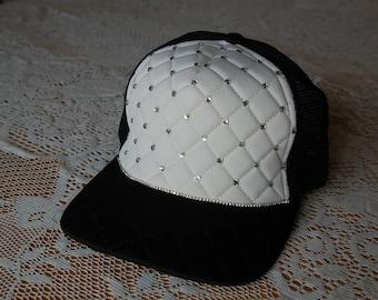Quilted trucker hat, embellished cap, women's cap rhinestones