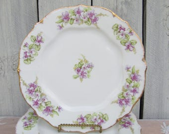 Limoges Purple Violets Salad Plates, Lavender Tea Party Salad Plates, Gold & Pink French Floral Plates, Shabby Chic Garden Party Plates
