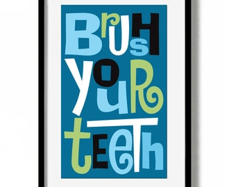 Bathroom Art Dentist Gift for Office Brush Your Teeth Sign Mid Century Modern Kids Decor Wall Art Dental Hygienist Kids Teeth Orthodontist
