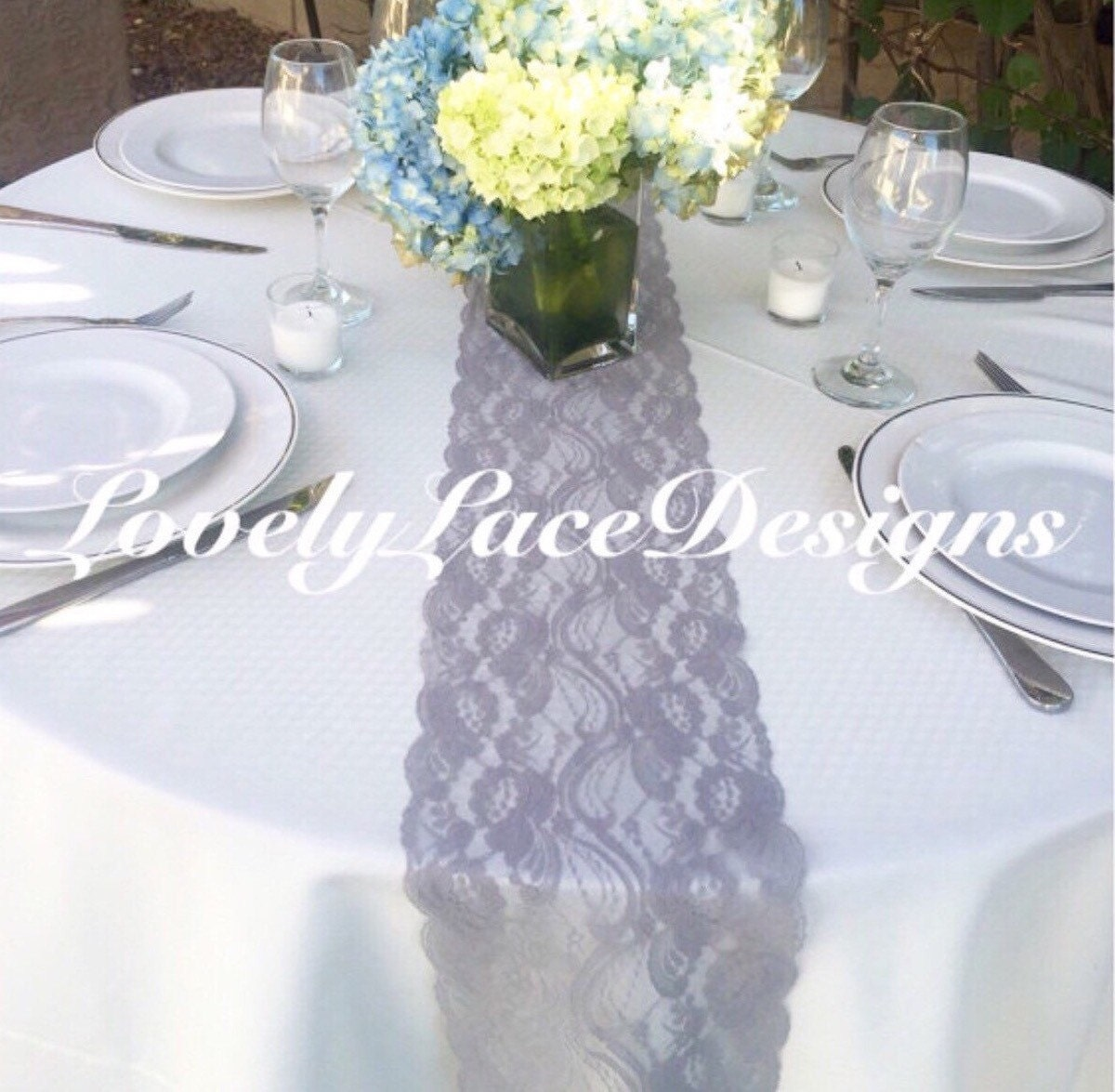 GRAY/SILVER Weddings! 40ft Lace Table Runner, 7wide/Overlay/Wedding ...