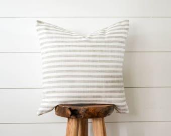 Grey Striped Pillow, Woven Gray Stripe Decorative Pillow, Grey & White Striped Pillow Cover