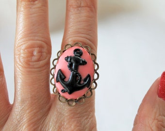 Anchor ring cameo pink black Fantasy Kawaii rockabilly nautical