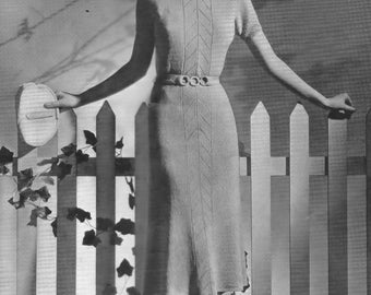 Vintage Knitting PDF Pattern Short Sleeve Dress Bust Size 34 Resize Instructions Included 1930's e-Pattern Download Digital Reproduction