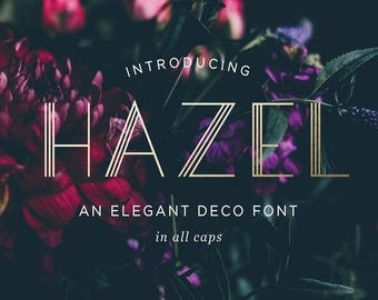 Hazel Art Deco Font, Modern Deco Typeface, OTF & TTF files, Instant Download