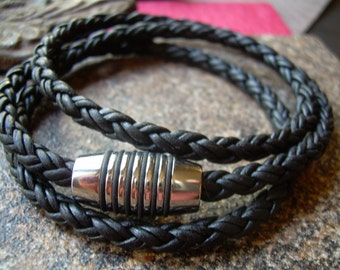 Mens Triple Wrap Braided Leather Bracelet,  Stainless Steel, Fathers Day,Magnetic Clasp, Mens Jewelry, Mens Bracelet, Leather Bracelet