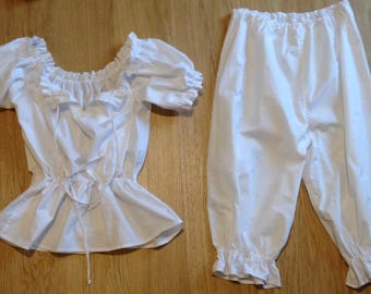 set of bloomers/capri and peasant blouse, sizes 4-30 pyjama set